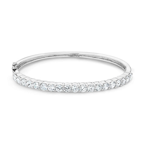 Sterling silver bangle set with Signity CZ