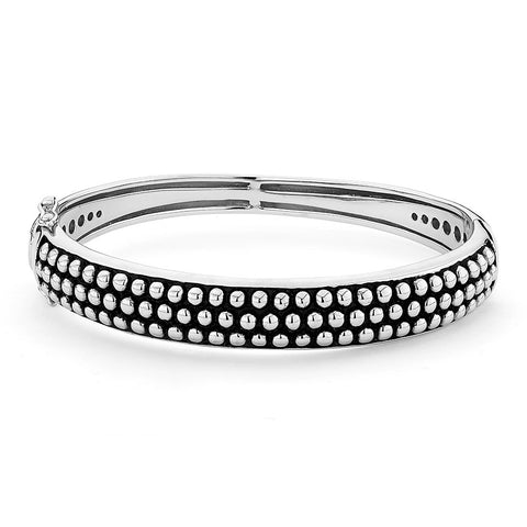 Sterling silver bangle black enamel finish bali style.