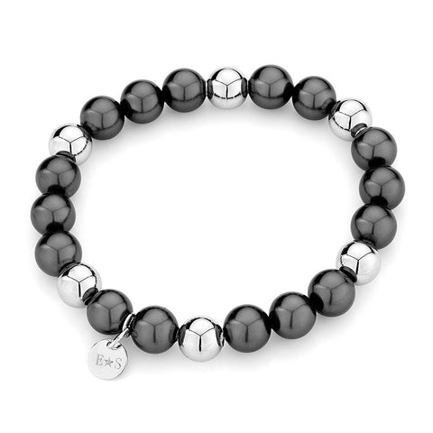 Sterling silver black pearls and rhodium bracelet
