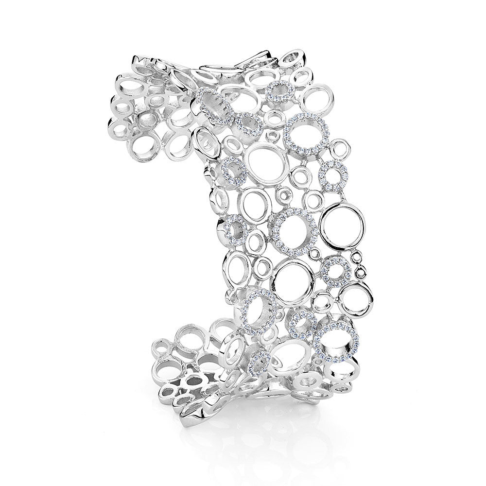 Sterling silver bangle bracelets set with signity CZ rhodium plated