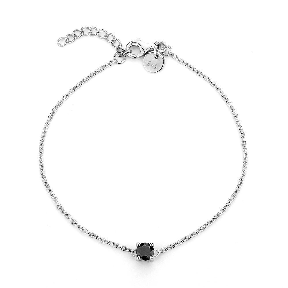 Sterling silver black CZ rhodium plated
