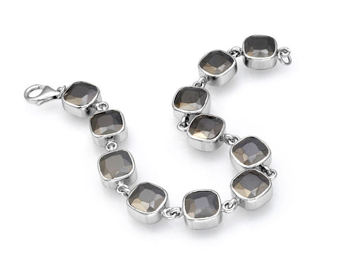 Sterling silver black cubic zirconia bracelet rhodium plated