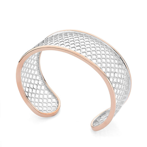 Sterling silver bangle bracelets rhodium and rose gold plated
