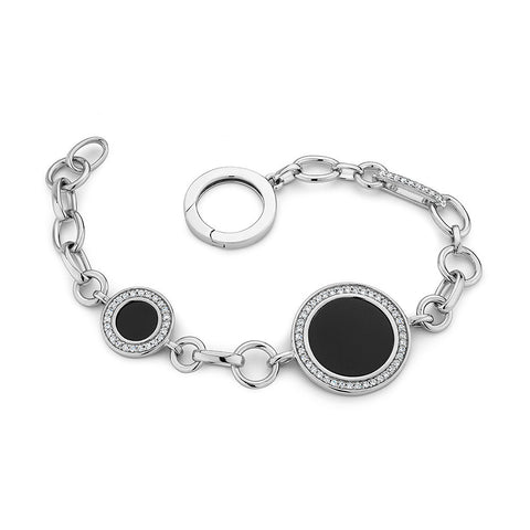 Sterling silver black onyx and white CZ bracelet rhodium plated