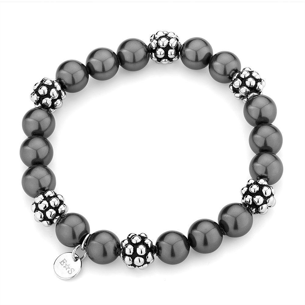 Sterling silver black pearl and white and black rhodium bracelet