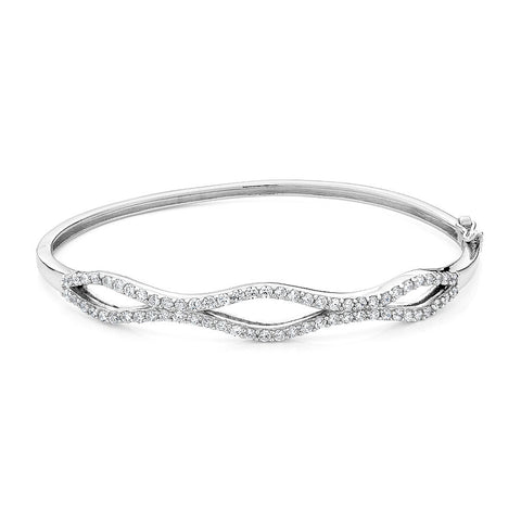 Sterling silver bangle bracelet set with signity CZ rhodium plated