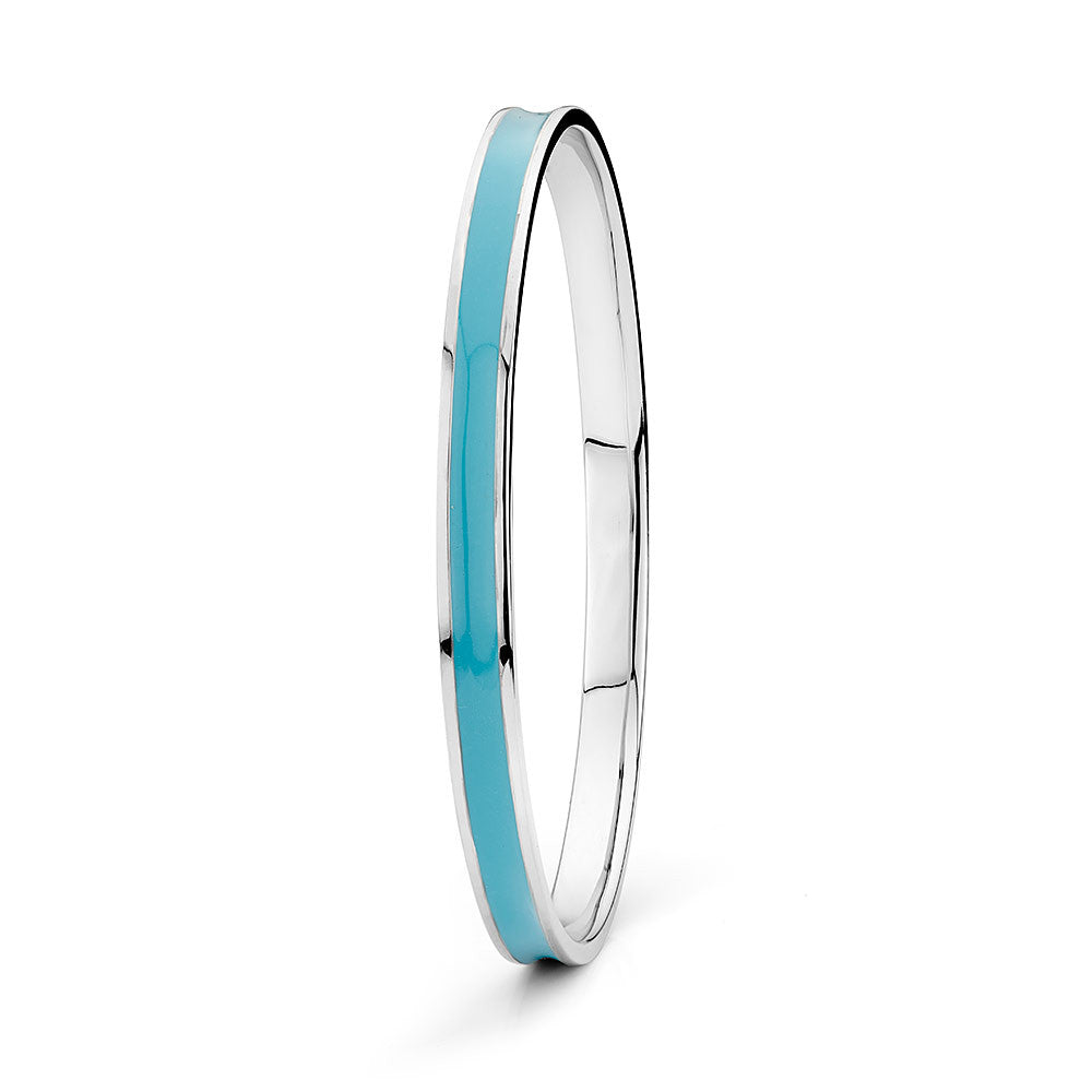 Sterling silver blue enamel bangle rhodium plated