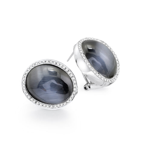 Sterling silver black cats eye with white CZ rhodium plated