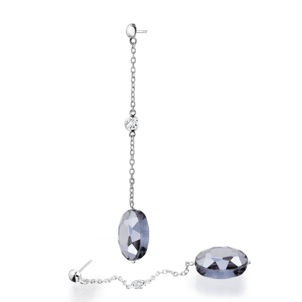 Sterling silver amethyst crystals drop earrings rhodium plated