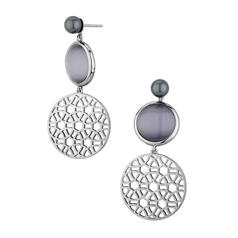 Sterling silver black cats eye and shell pearl earrings rhodium plated