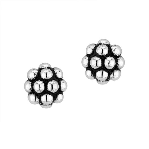 Sterling silver black and white rhodium plated stud earrings
