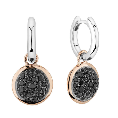 Sterling silver earrings set with black Signity CZ rhodium and rose gold plated