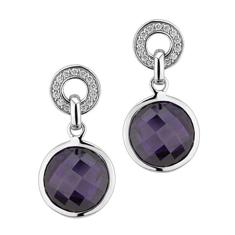 Sterling silver amethyst and white signity CZ earrings rhodium plated