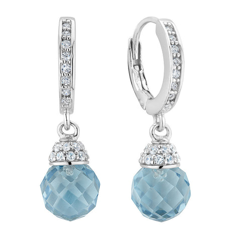 Sterling silver baby blue crystal and white signity CZ earrings rhodium plated