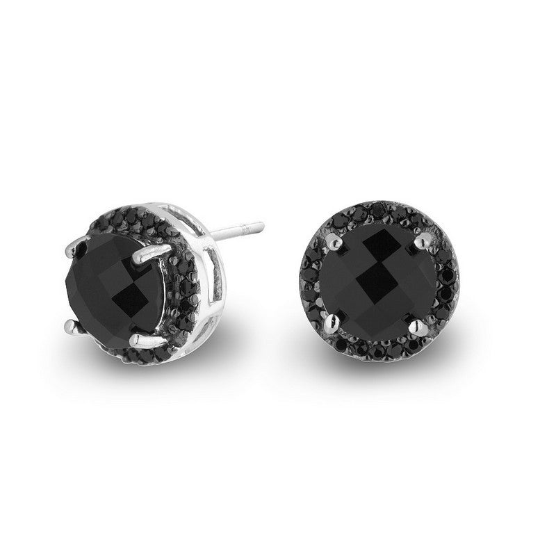 Sterling silver black crystal and CZ rhodium plated