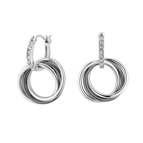 Sterling silver black and white rhodium plated earrings with signity CZ