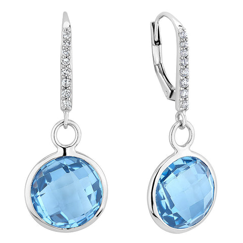 Sterling silver baby blue crystal drop earrings set with signity CZ rhodium plated