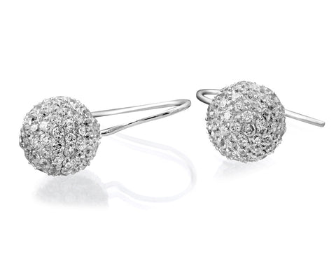Sterling silver ball with white CZ earrings rhodium plated