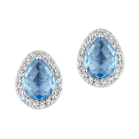 Sterling silver baby blue crystal earrings set with signity CZ rhodium plated