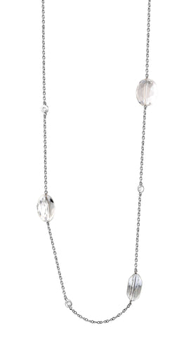 Sterling silver whilte crystals and signity CZ necklace rhodium plated