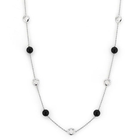 Sterling silver black agate necklace rhodium plated