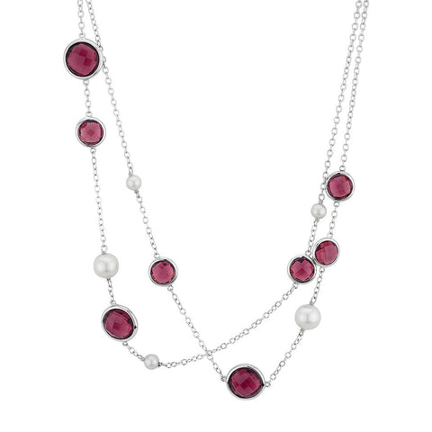 Sterling silver pink crystals and pearls necklace rhodium plated