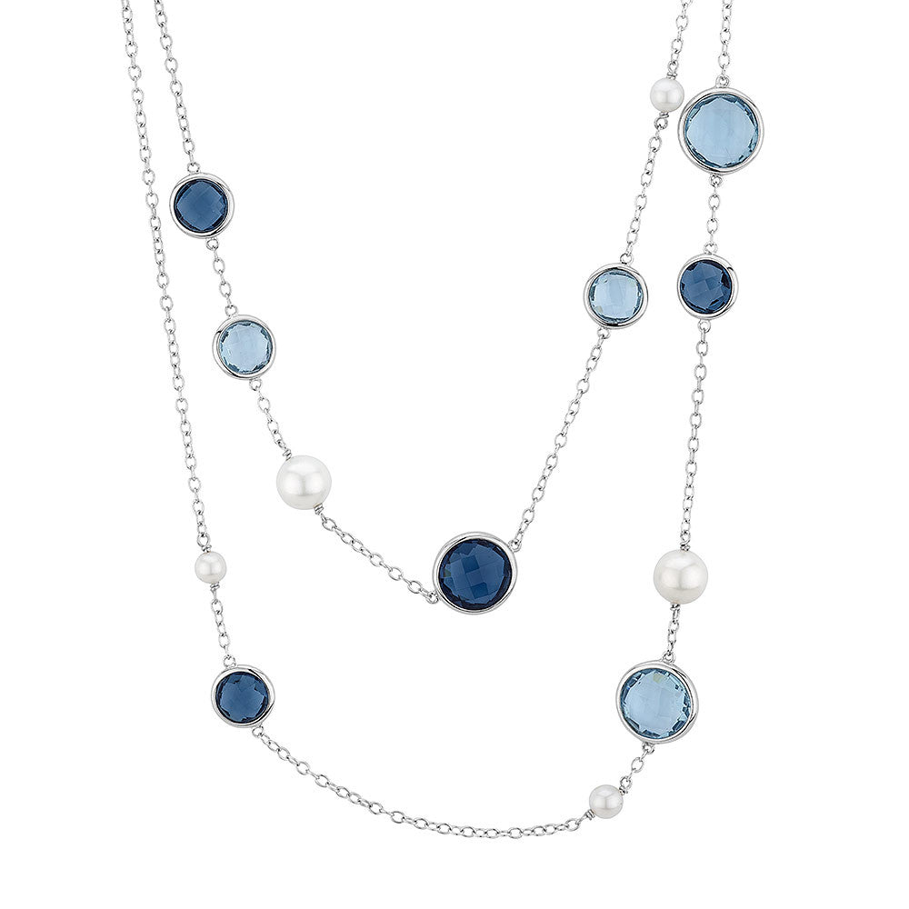 Sterling silver blue crystals and pearls necklace rhodium plated