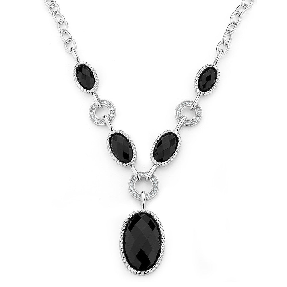 Sterling silver black onyx necklace set with signity CZ rhodium plated