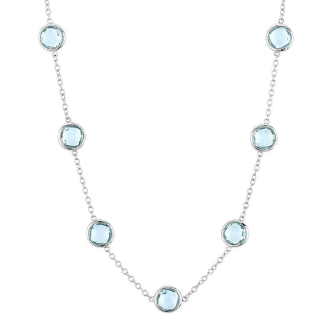 Sterling silver baby blue crystals necklace rhodium plated
