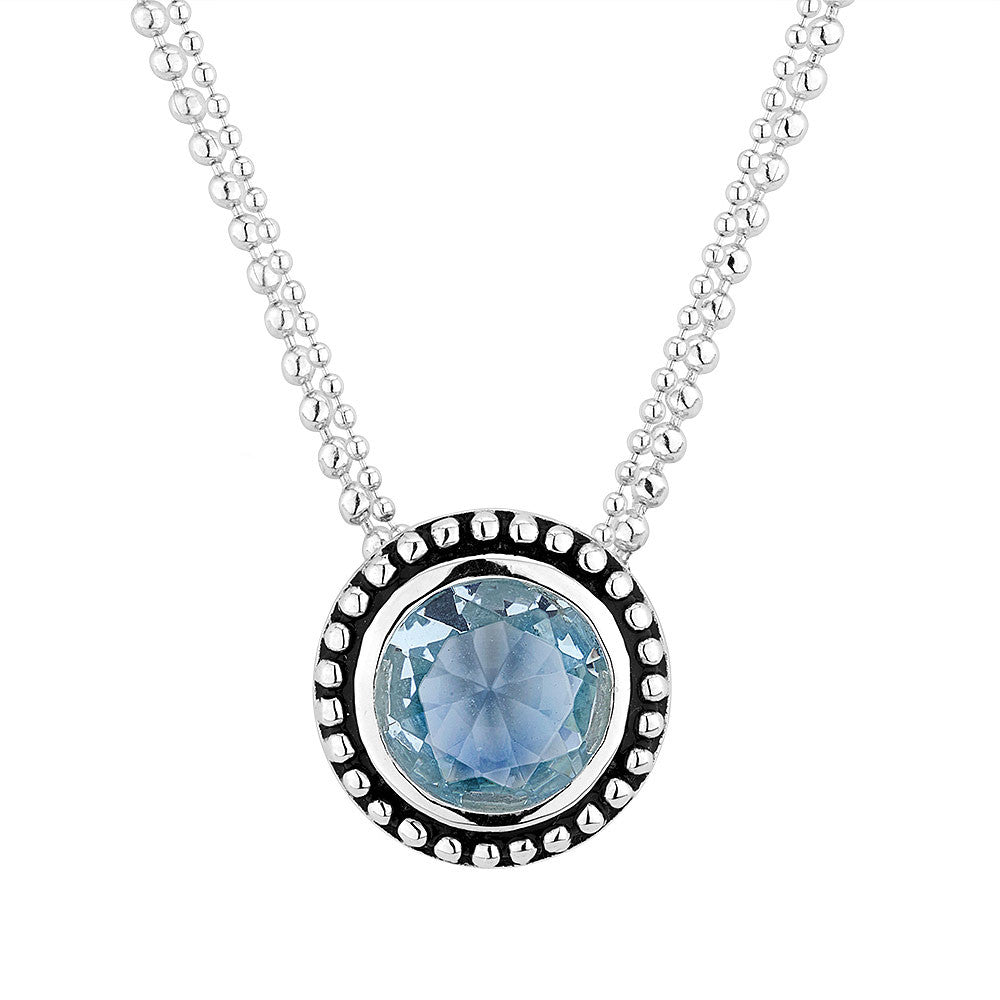 Sterling silver blue stone necklace rhodium plated