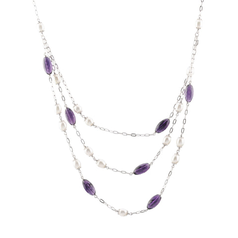 Sterling silver three layer amethysts and pearls necklace rhodium plated