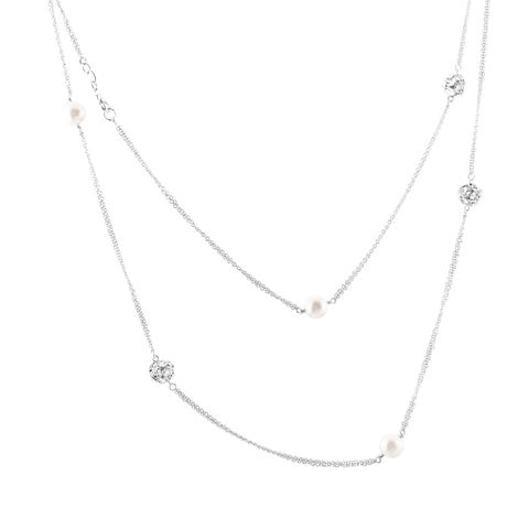 Sterling silver pearls necklace set with signity CZ rhodium plated