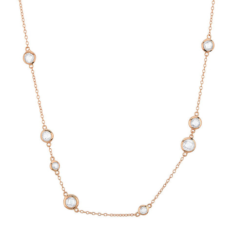 Sterling silver 16 inch necklace set with signity CZ rose gold plated
