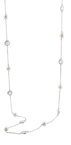 Sterling silver pearls and whilte crystals necklace rhodium plated