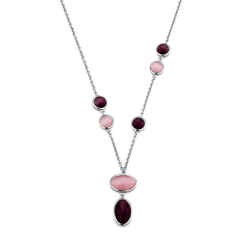 Sterling silver pink cats eye necklace rhodium plated