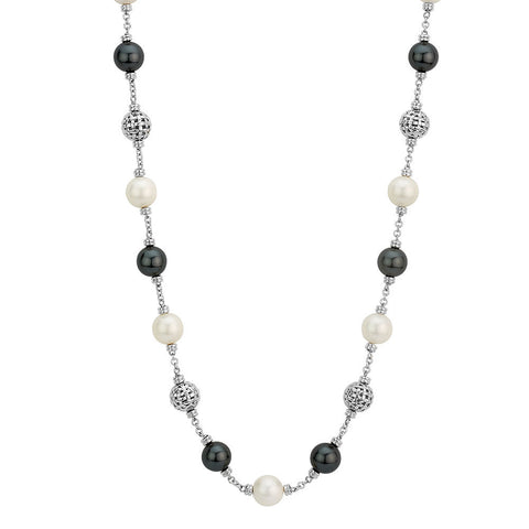 Sterling silver white and black pearls necklace rhodium plated