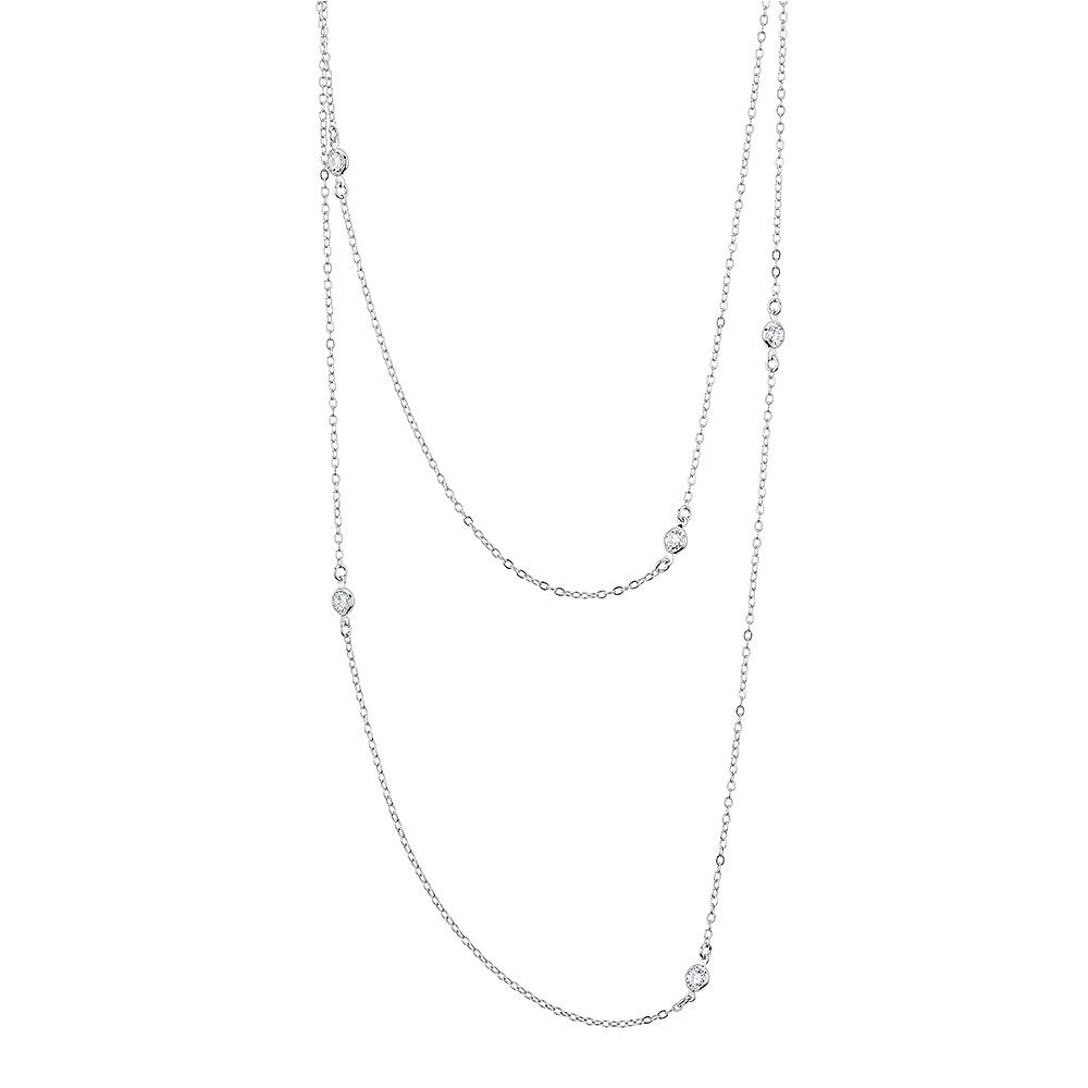 Sterling silver double necklace set with signity CZ rhodium plated
