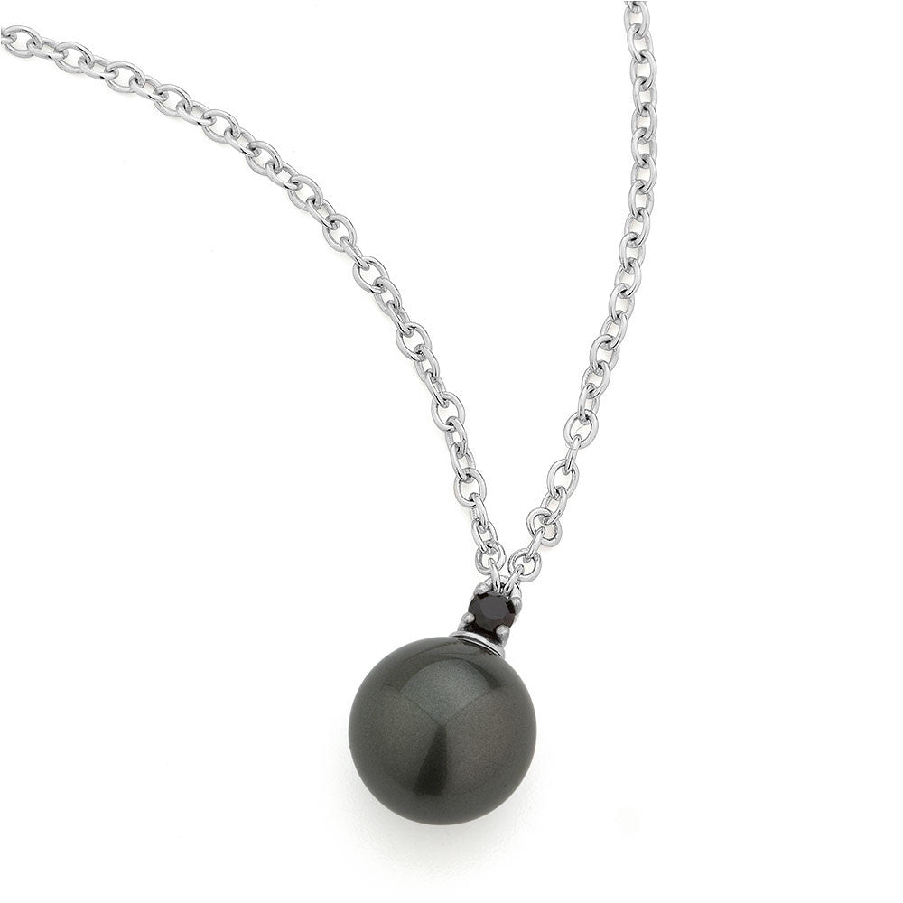 Sterling silver black pearl and CZ pendant rhodium plated