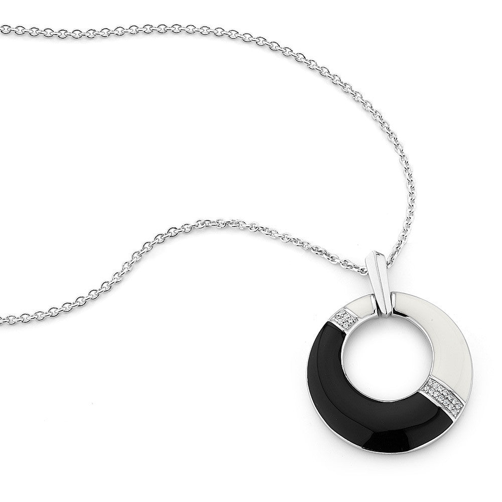 Sterling silver black and white enamel with white CZ pendant rhodium plated