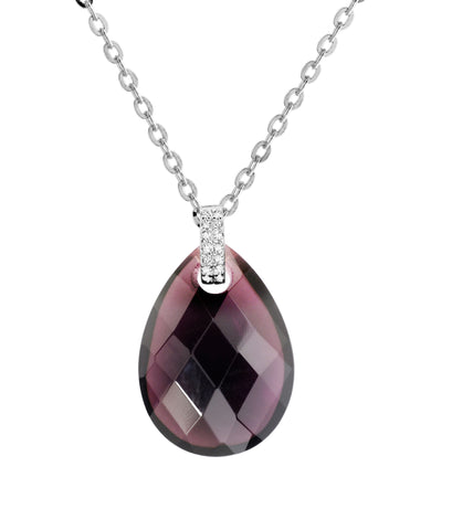 Sterling silver amethyst crystal and CZ rhodium plated