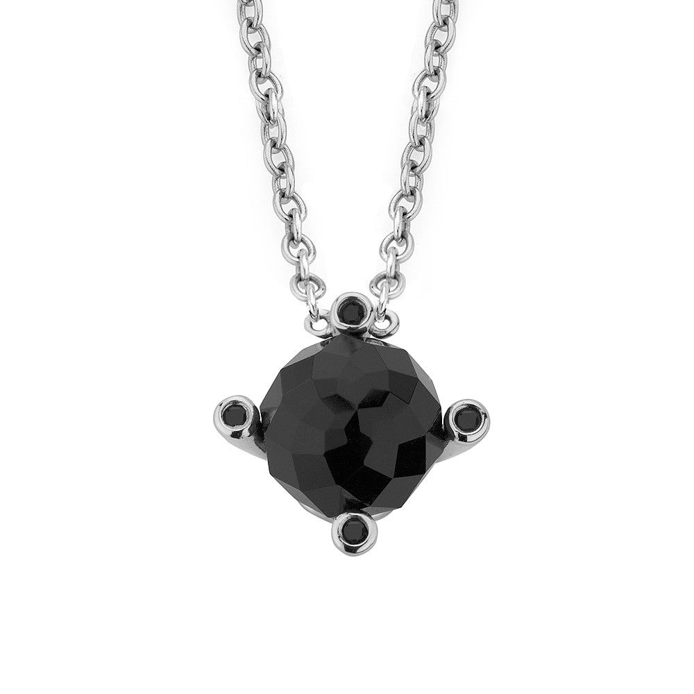 Sterling silver black onyx pendant rhodium plated