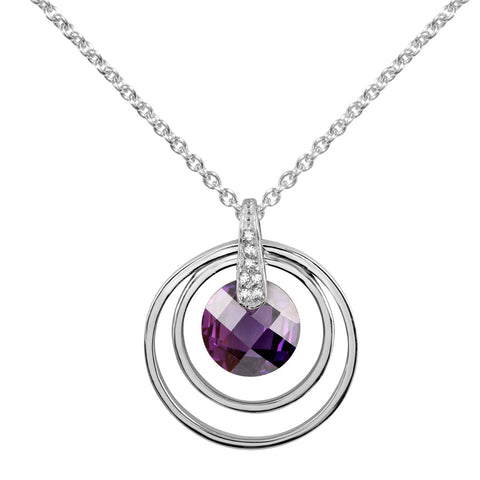 Round sterling silver with amethyst and white CZ pendant rhodium plated