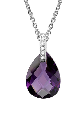 Sterling silver amethyst crystal with white CZ rhodium plated