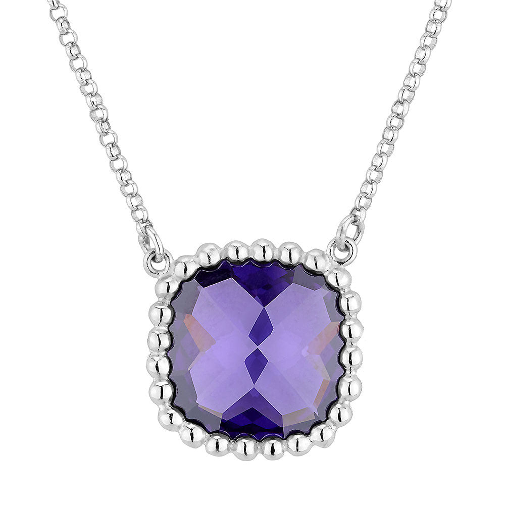 Sterling silver amethyst crystal pendant rhodium plated