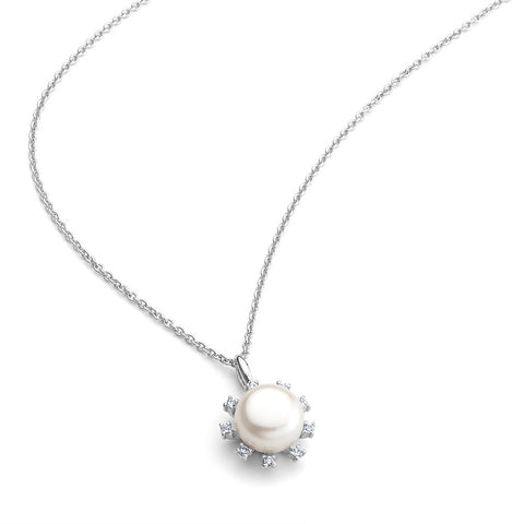 Sterling silve white pearl pendant with signity CZ