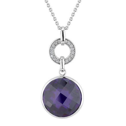 Sterling silver amethyst pendant set with signity CZ rhodium plated