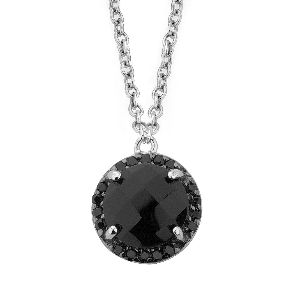 Sterling silver black crystal and CZ pendant rhodium plated