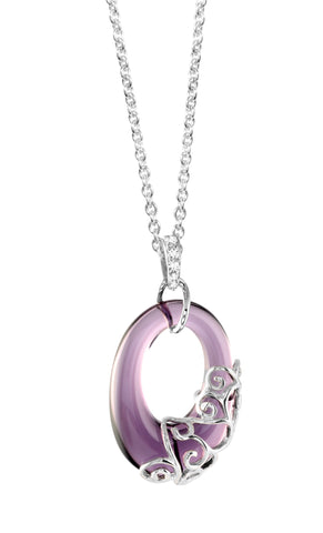 Sterling silver amethyst pendant with white CZ rhodium plated