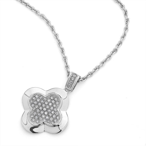 Sterlig silver flower shaped pendant set with signity CZ rhodium plated
