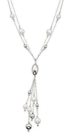 Sterling silver white pearls and rhodium plated necklace